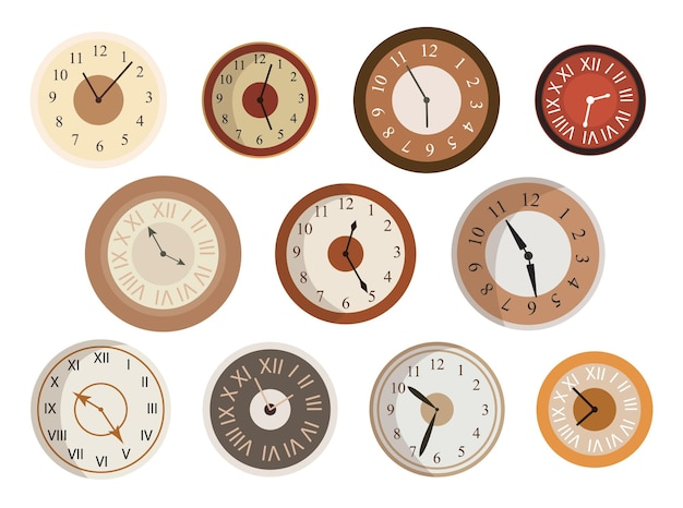 Set di faccia di orologi antichi