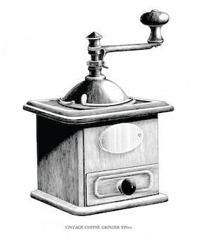 Illustrazione antica dell'incisione di clipart in bianco e nero del macinacaffè isolata su fondo bianco