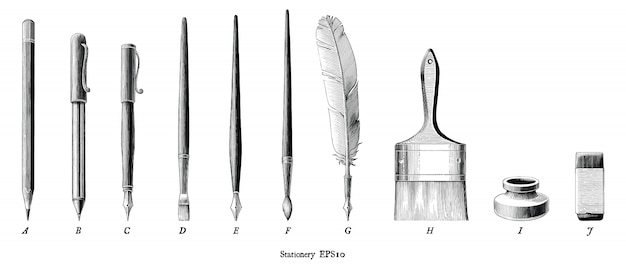 Illustrazione antica dell'incisione dell'insieme della cancelleria che assorbe clipart in bianco e nero di stile d'annata isolata
