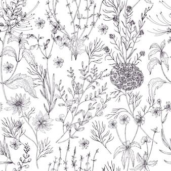 Modello senza cuciture floreale antico con fiori selvatici