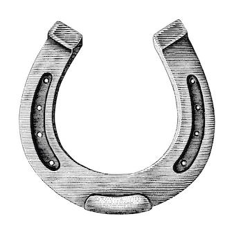 Oggetto d'antiquariato di stile d'annata dell'incisione dell'illustrazione di tiraggio a ferro di cavallo isolato su fondo bianco