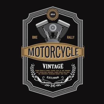 Disegno dell'etichetta antica illustrazione di tipografia del motore del motociclo