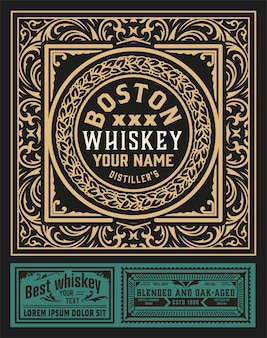 Etichetta antica per whisky o altri prodotti.