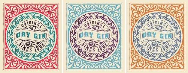 Etichetta antica con liquore al gin
