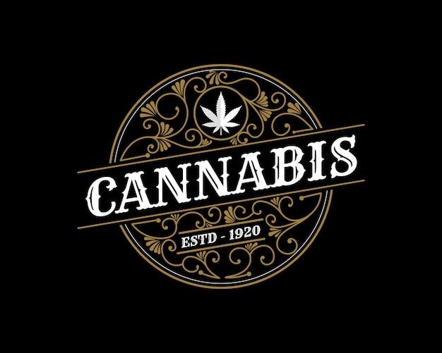 Antico logo di foglia di cannabis vintage reale di lusso con cornice ornamentale decorativa per il marchio di olio di canapa