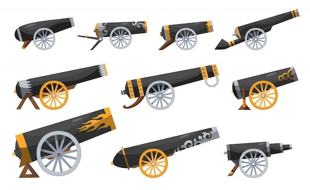 Antichi cannoni pirata. impostare la pistola vintage. immagine a colori del cannone medievale per vecchie navi su uno sfondo bianco. stile cartone animato