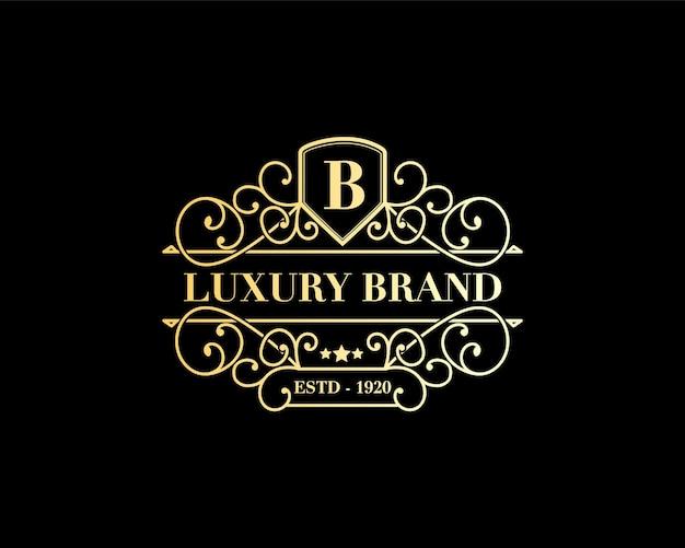 Logo araldico dell'emblema calligrafico vittoriano di lusso retrò antico con ornamento decorativo