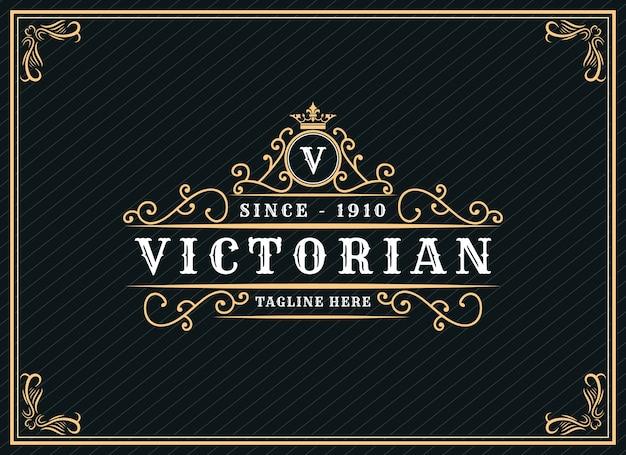 Logo calligrafico vittoriano di lusso retrò antico con cornice ornamentale adatto per barbiere vino carft beer shop spa salone di bellezza boutique antico ristorante hotel resort classic royal brand