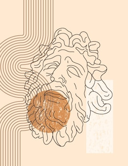Antica scultura di laocoonte in stile minimal trendy. illustrazione vettoriale boho del dio greco e forme geometriche per stampe su t-shirt, poster, cartoline, copertine e altro ancora
