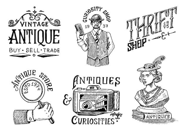 Etichette o distintivi del negozio di antiquariato