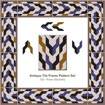 Modello di cornice di piastrelle antiche impostato geometria freccia