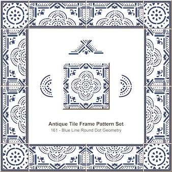 Modello di cornice di piastrelle antiche impostato geometria a punti tondi linea blu