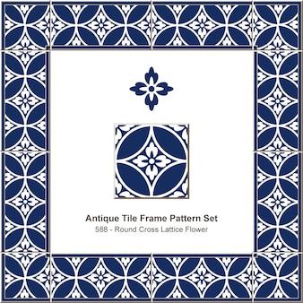 Modello di cornice di piastrelle antiche imposta fiore di reticolo croce rotonda blu, decorazione in ceramica