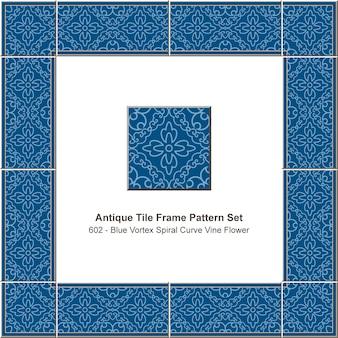Modello di cornice di piastrelle antiche impostato fiore di vite curva a spirale vortice blu, decorazione in ceramica.