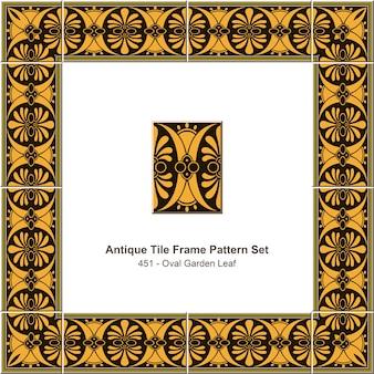 Modello di cornice di piastrelle antiche impostato foglia da giardino ovale marrone