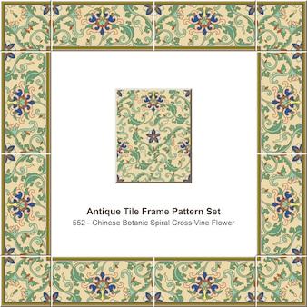 Antico modello di cornice piastrella impostato giardino botanico cinese spirale croce foglia fiore di vite