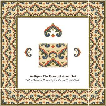 Modello di cornice di piastrelle antiche impostato catena reale con croce a spirale curva cinese