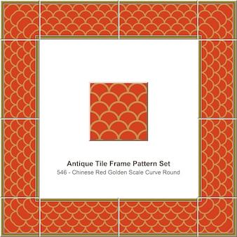Modello di cornice di piastrelle antiche impostato rotondo di curva in scala dorata rossa cinese