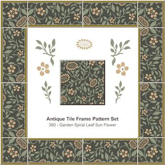 Modello di cornice di piastrelle antiche impostato garden spiral leaf sun flower