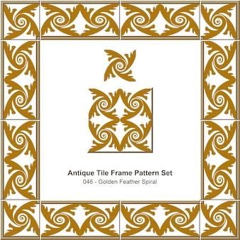 Modello di cornice di piastrelle antiche impostato croce a spirale di piume d'oro