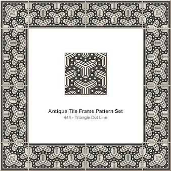 Modello di cornice di piastrelle antiche impostato linea di punti triangolo grigio