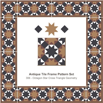 Modello di cornice di piastrelle antiche impostato geometria triangolo a croce ottagono