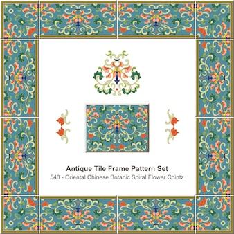 Modello di cornice di piastrelle antiche impostato oriental chinese botanic spiral flower chintz