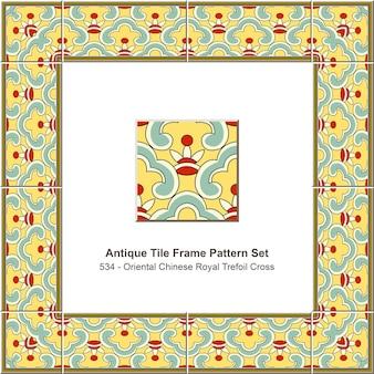 Modello di cornice di piastrelle antiche impostato croce trifoglio reale cinese orientale