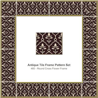 Modello di cornice di piastrelle antiche impostato round cross flower frame