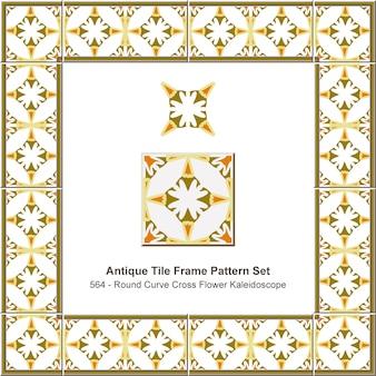 Modello di cornice di piastrelle antiche impostato caleidoscopio di fiori a croce curva rotonda, decorazione in ceramica.