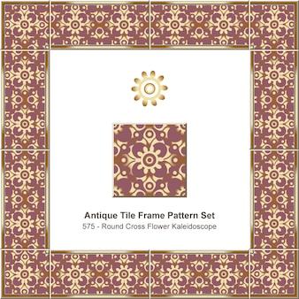 Modello di cornice di piastrelle antiche impostato caleidoscopio di fiori a gradiente croce curva rotonda, decorazione in ceramica.
