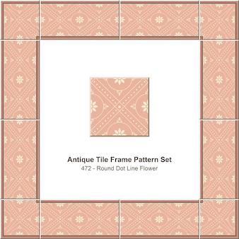 Modello di cornice di piastrelle antiche impostato round dot line pink flower