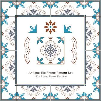 Modello di cornice di piastrelle antiche impostato round flower dot line