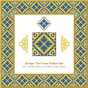 Modello di cornice di piastrelle antiche impostato royal golden yellow line blue cross flower