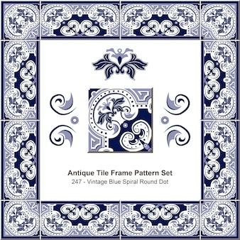 Modello di cornice di piastrelle antiche impostato punto rotondo a spirale blu vintage