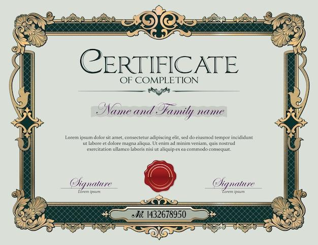 Certificato di completamento della cornice di ornamento vintage antico