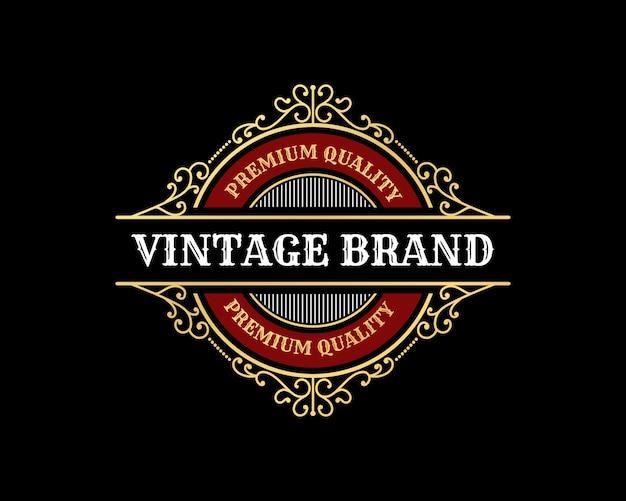 Logo calligrafico vittoriano araldico di lusso retrò vintage antico con cornice ornamentale