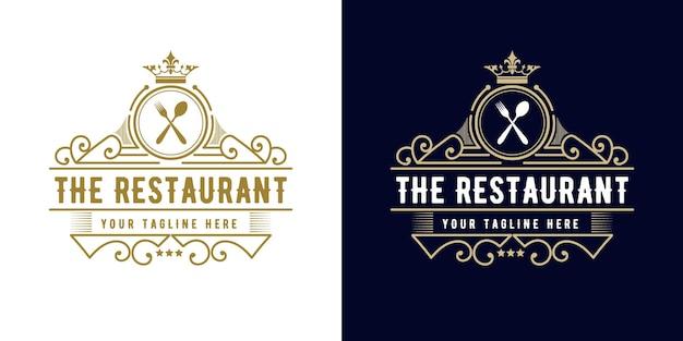 Logo di lusso retrò royal vintage antico con cornice ornamentale