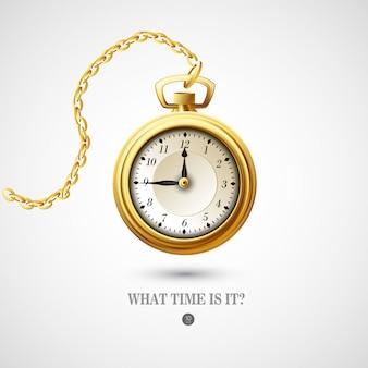Illustrazione di orologio antico Vettore Premium