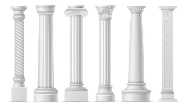 Colonne bianche antiche. colonnato o pilastri di pietra storica romana, pilastro di marmo realistico architettura della grecia antica, oggetti d'arte di colonna classica vettore isolato set