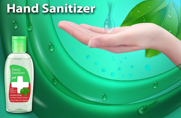Antisettico per le mani in bottiglia. annunci di gel disinfettante per le mani.