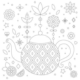 Pagina da colorare antistress con teiera e fiori