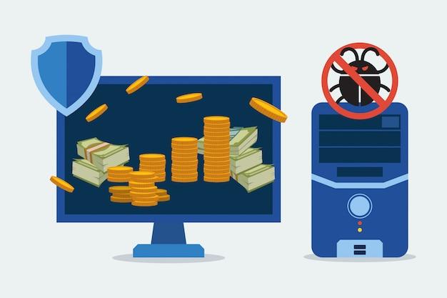 Antivirus per l'illustrazione delle parti del computer di protezione. operazioni bancarie sicure su computer, dispositivo elettronico.
