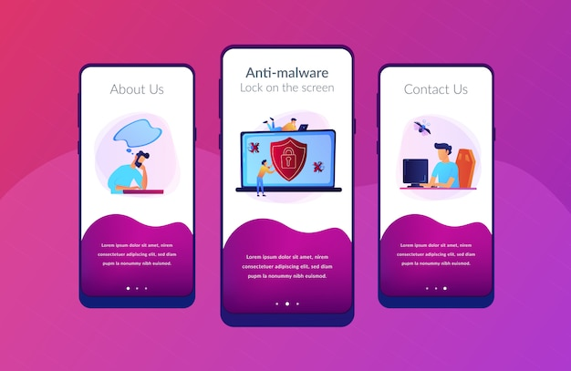 Modello di interfaccia dell'app software antivirus.