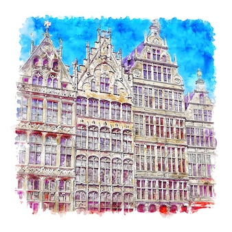 Illustrazione disegnata a mano di schizzo dell'acquerello di anversa belgio