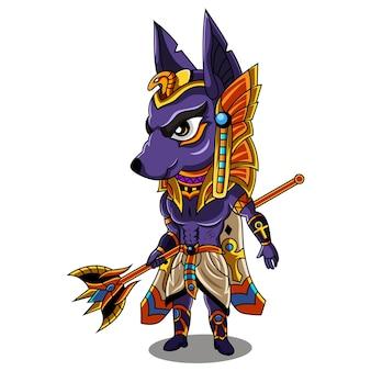 Disegno del logo della mascotte di anubis chibi