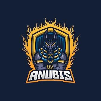 Modello di logo della mascotte di gioco di anubis esport
