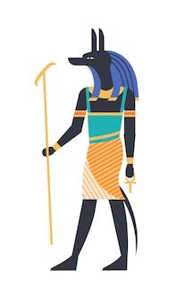 Anubi - dio dell'aldilà, patrono, divinità o creatura mitologica con testa di lupo o sciacallo che tiene il simbolo ankh. mitologia e religione dell'antico egitto. illustrazione vettoriale colorato in stile piatto.