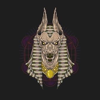 Dio anubis della tribù egiziana del guardiano