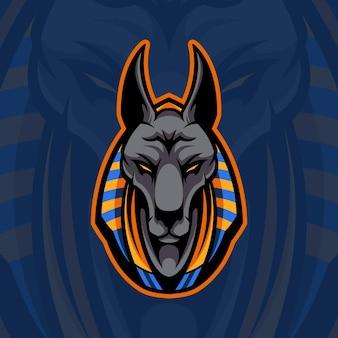 Anubis testa gioco mascotte logo illustrazione premium disegno vettoriale